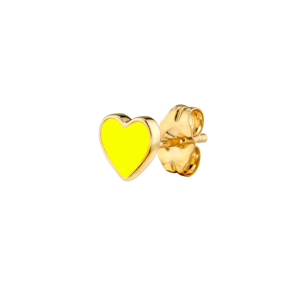 NEON YELLOW ENAMEL HEART STUD EARRING