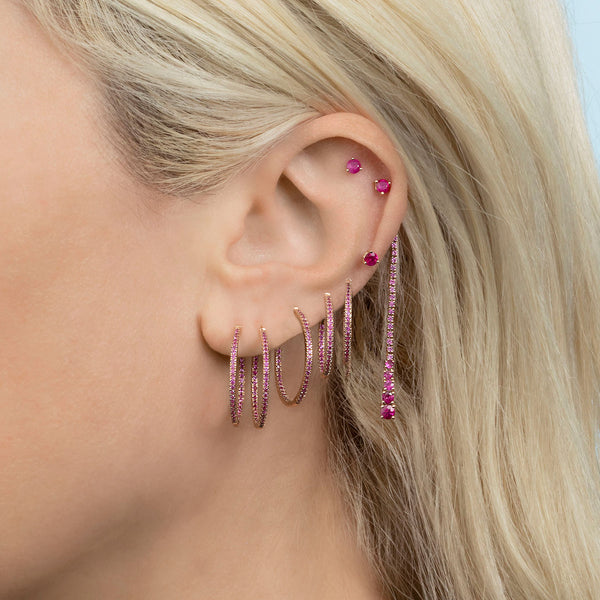 SMALL RUBY INSIDE OUT HOOP EARRING