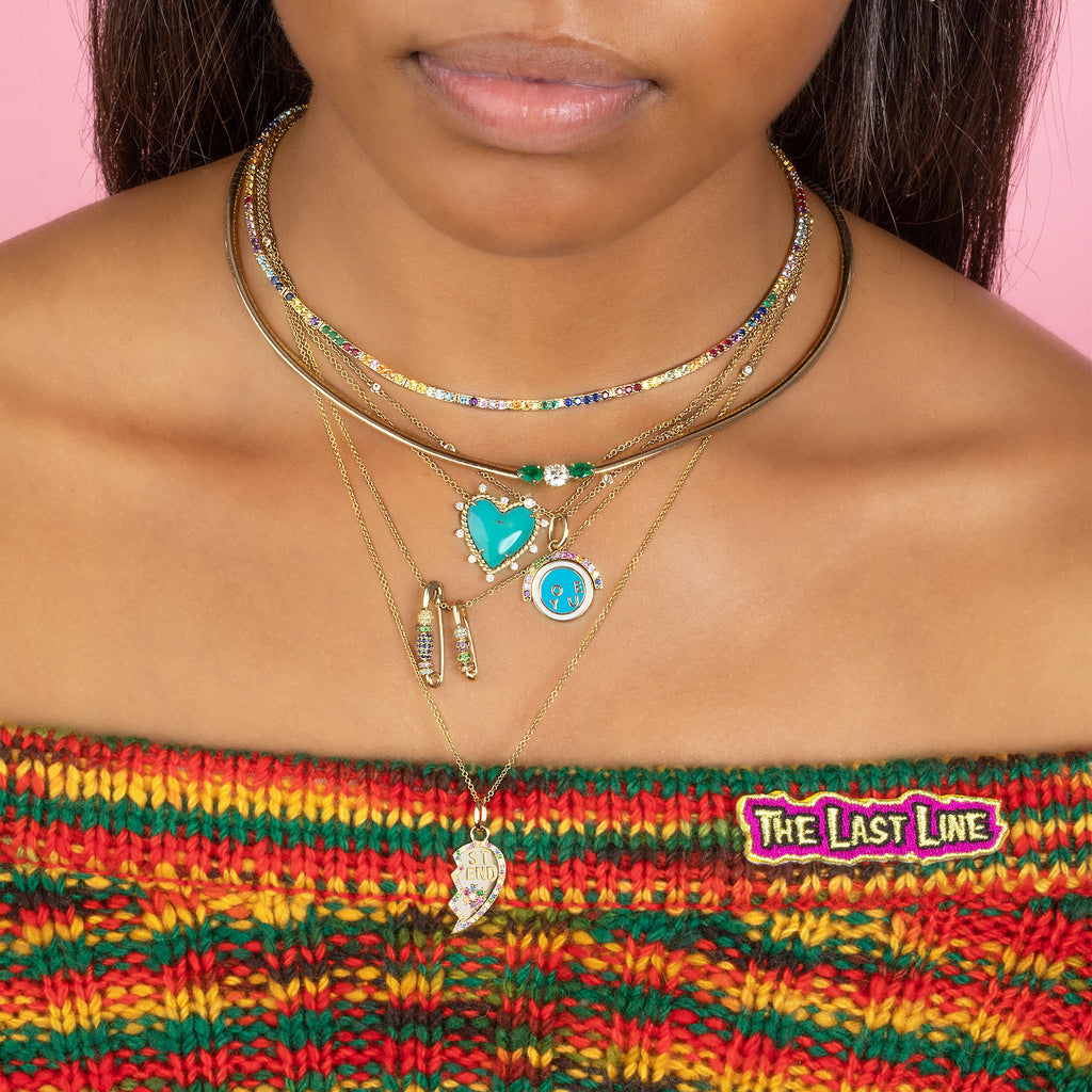 RAINBOW BEADED SAFETY PIN NECKLACE