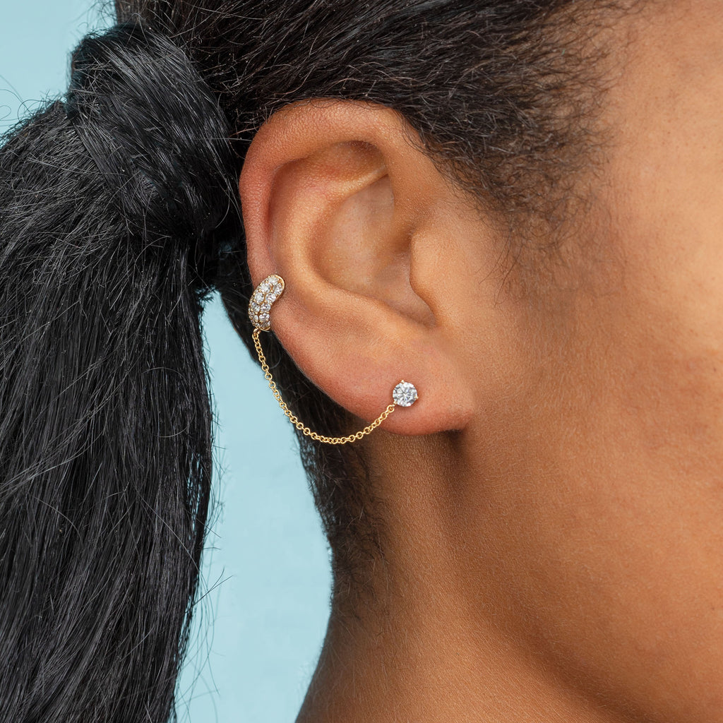 DIAMOND PAVE WIDE HOOP #5 WITH CONNECTED STUD EARRING