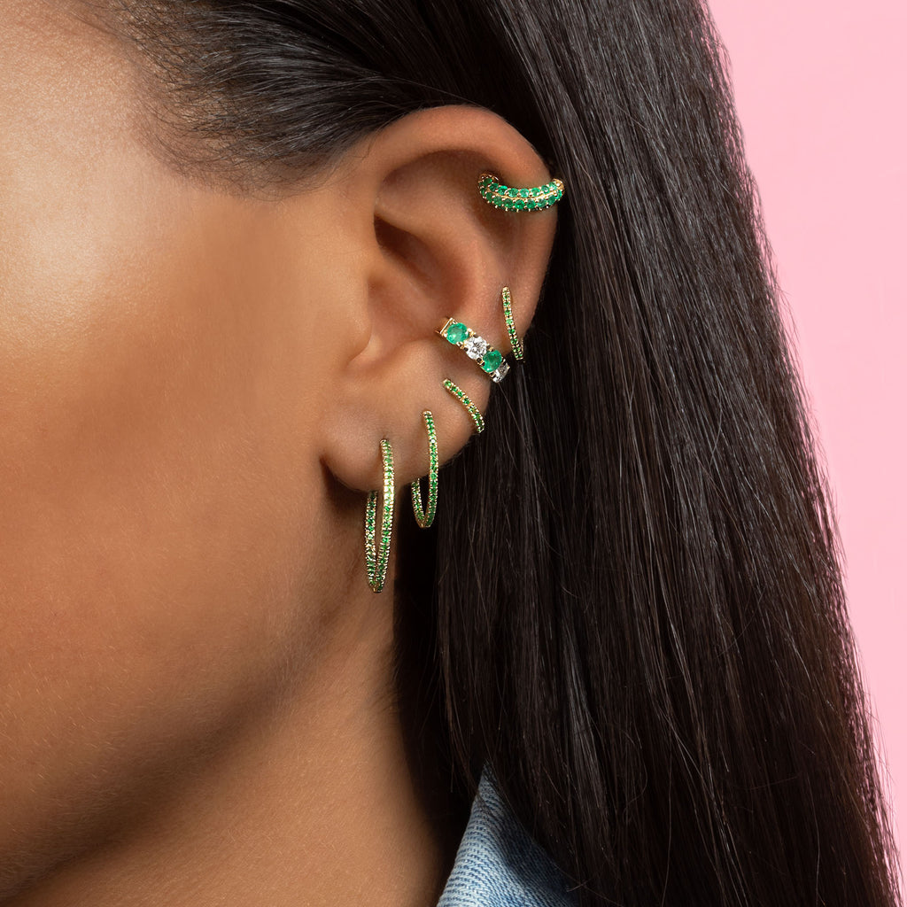 TSAVORITE LARGE INSIDE OUT HOOP EARRING