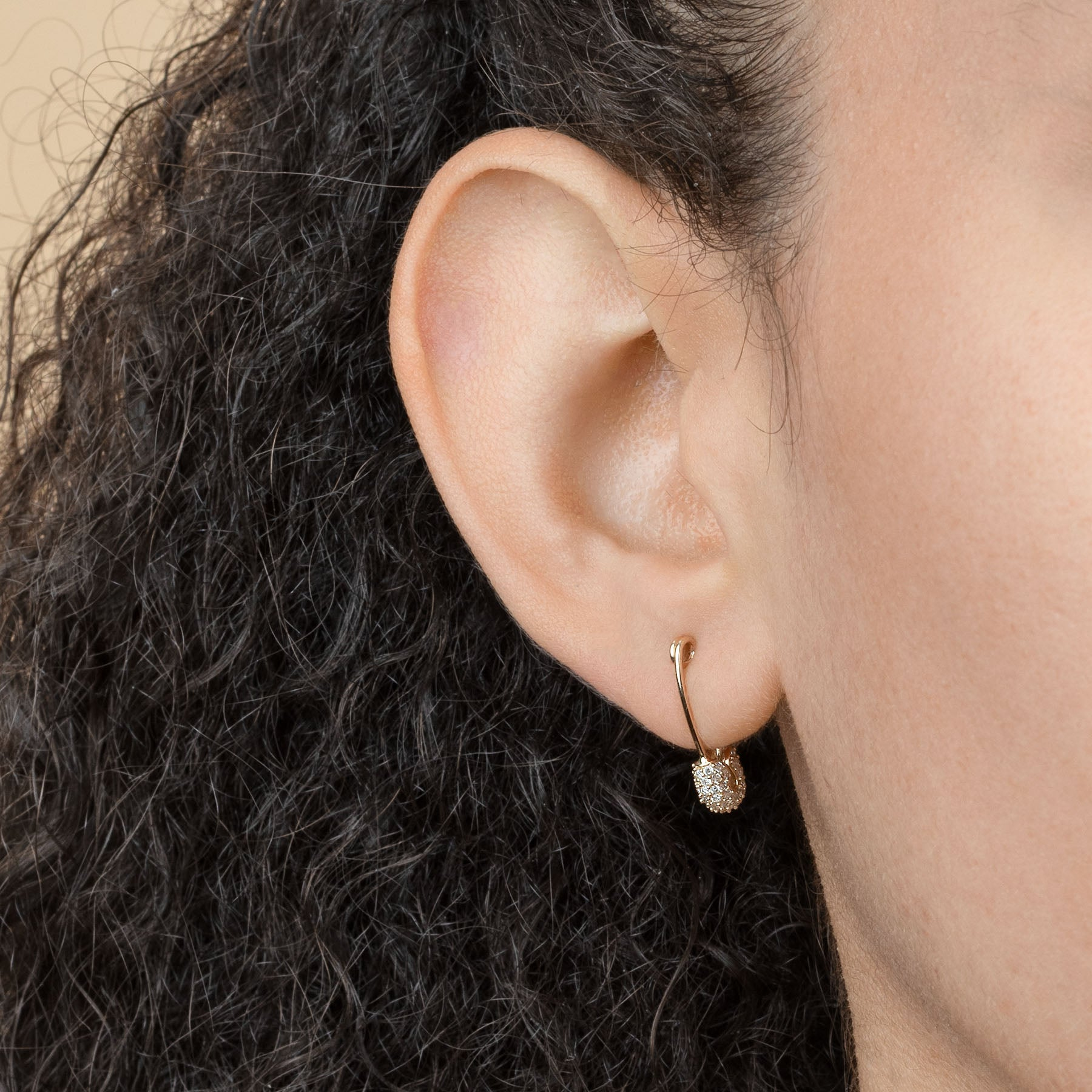 SMALL PAVÉ TOP SAFETY PIN EARRING