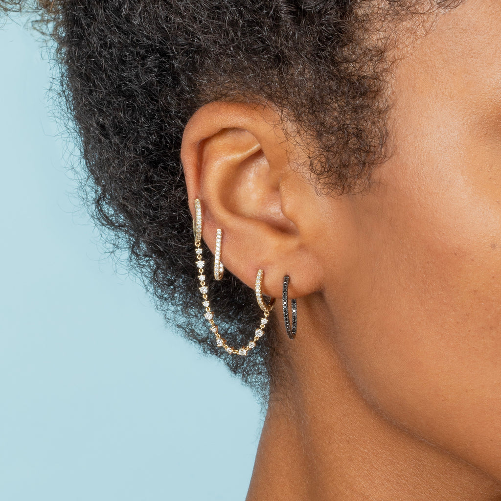 BLACK DIAMOND SMALL INSIDE OUT HOOP EARRING