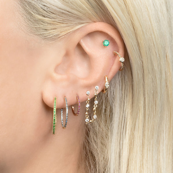 LARGE TSAVORITE INSIDE OUT HOOP EARRING