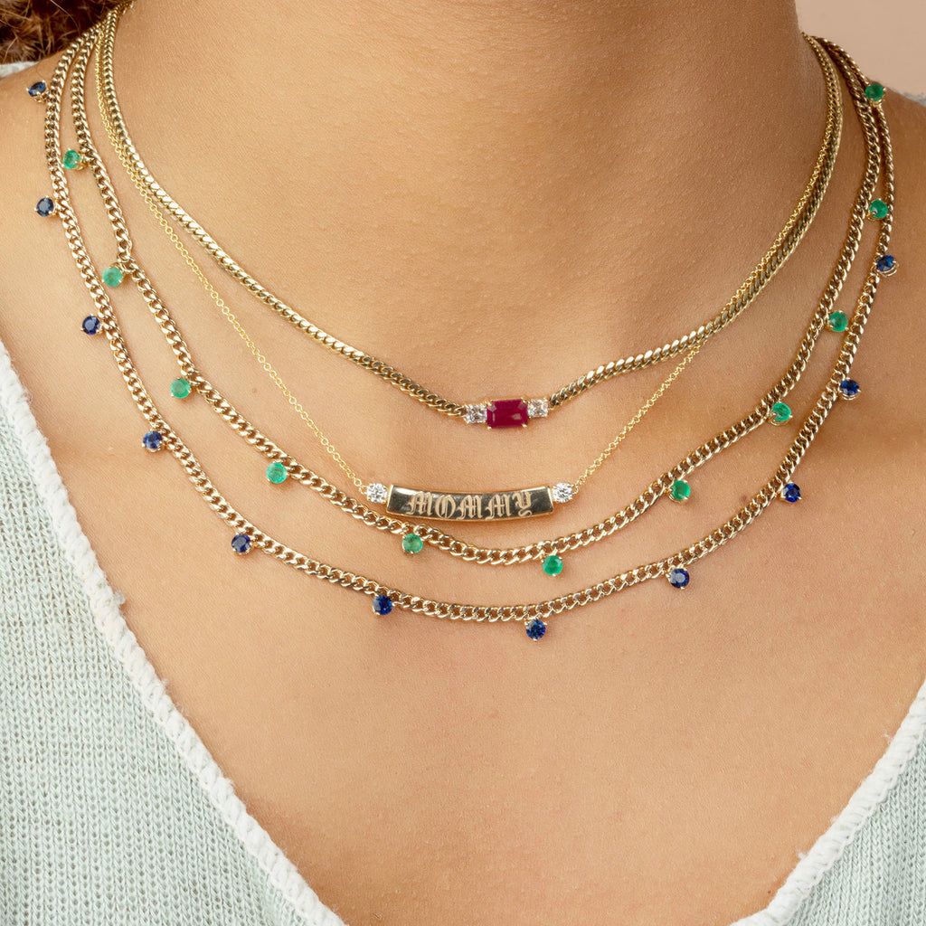 BLUE SAPPHIRE LINKED DARLING NECKLACE