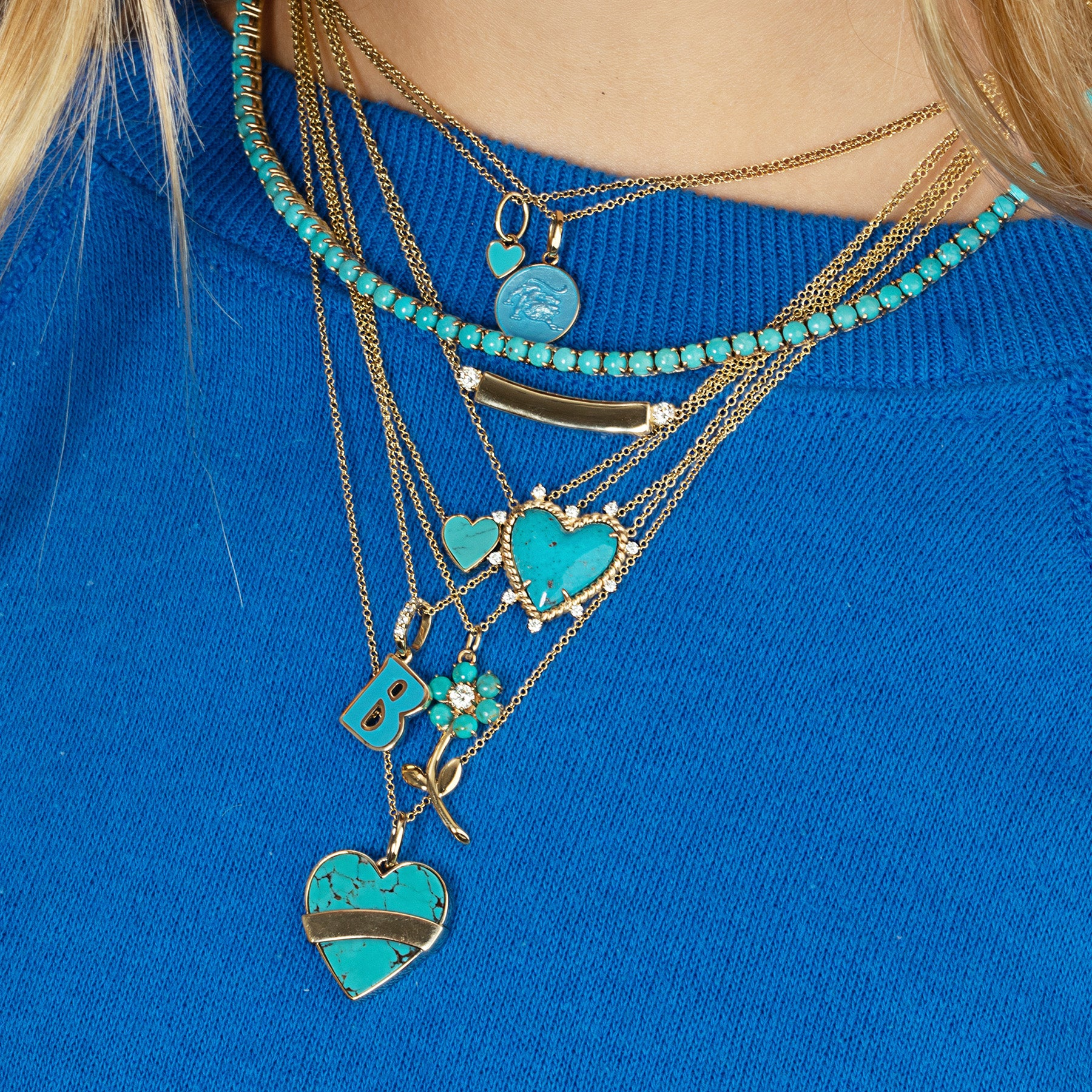TURQUOISE AND GOLD HEART PENDANT