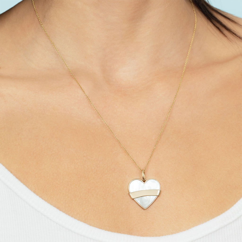 MOTHER OF PEARL AND GOLD HEART PENDANT