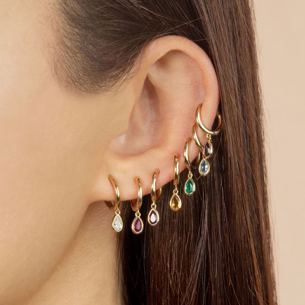RUBY TEARDROP SLIM HOOP EARRING