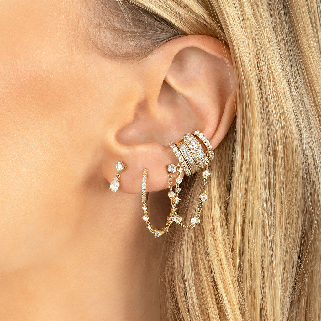 DIAMOND HUGGIE CONNECTED CUFF EARRING