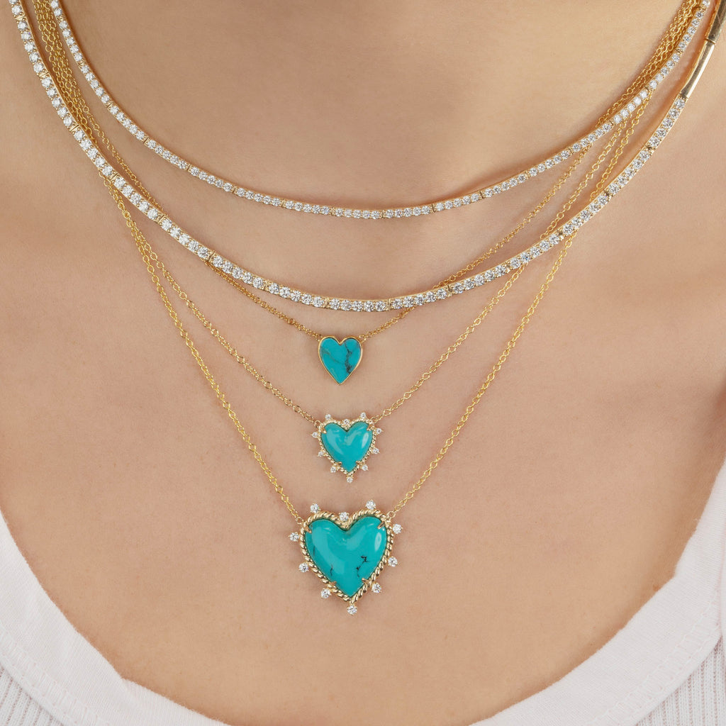 DIAMOND AND TURQUOISE HEART TWIST NECKLACE