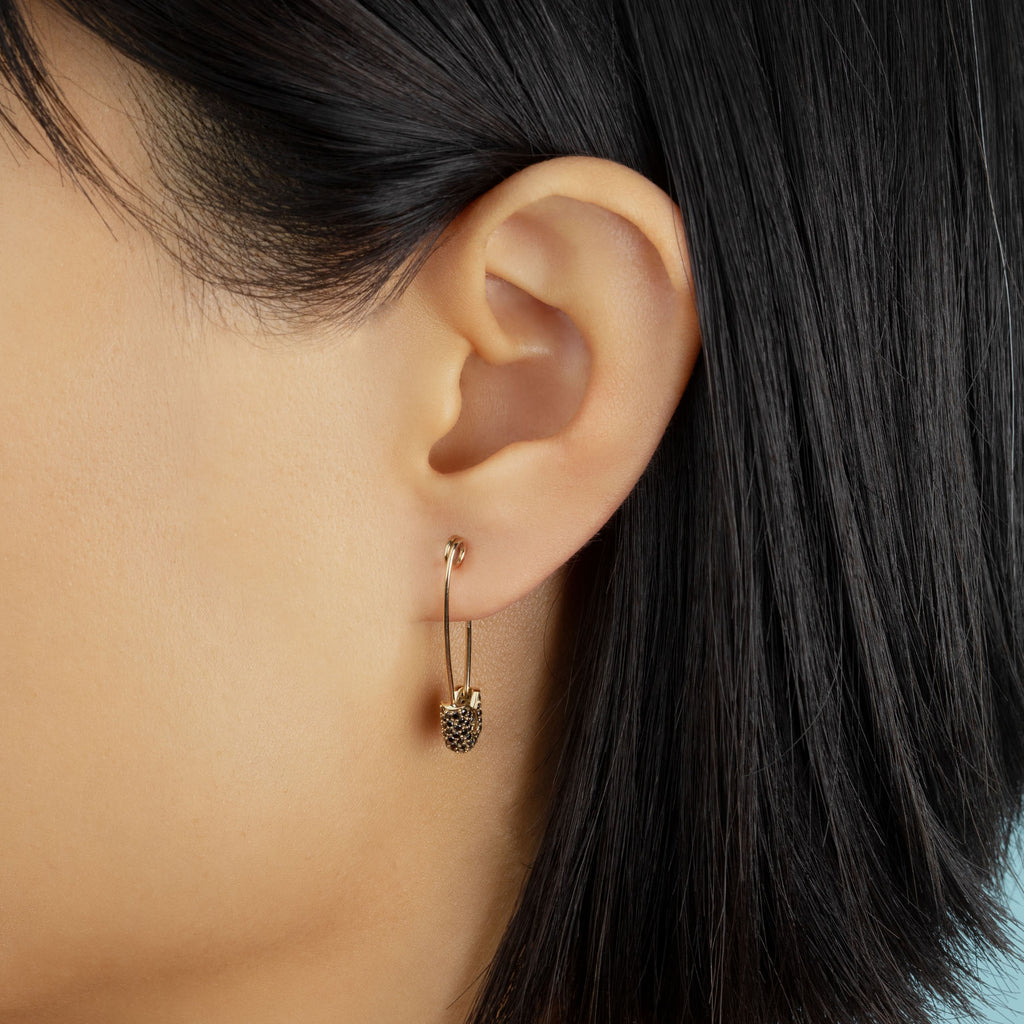 BLACK DIAMOND LARGE PAVE TOP SAFETY PIN EARRING