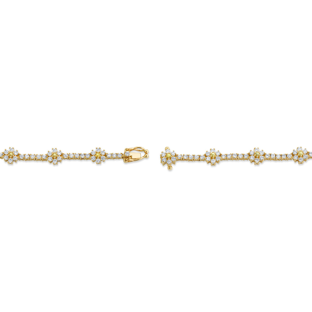 DIAMOND AND YELLOW SAPPHIRE FLOWER TENNIS BRACELET