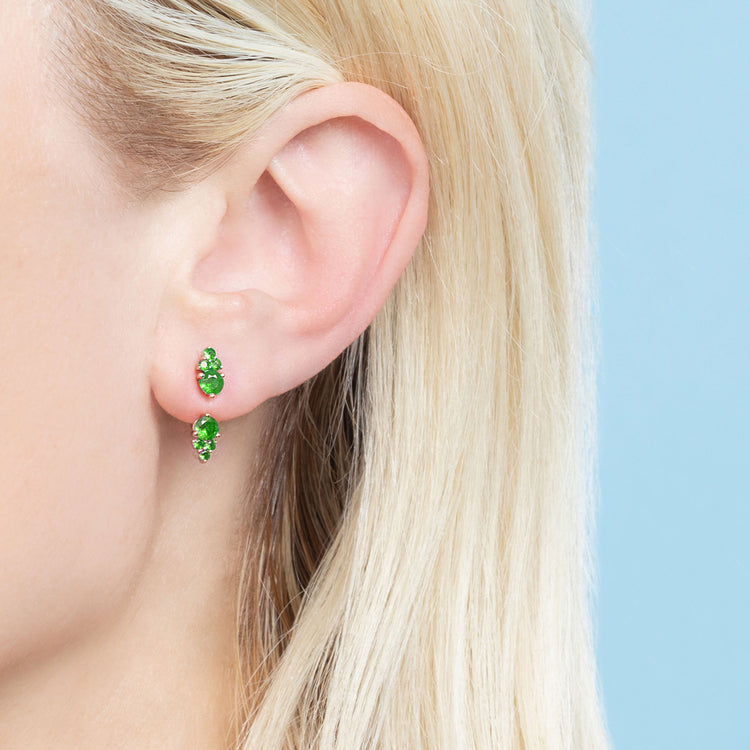 EMERALD CLUSTER STUD AND EAR JACKET SET