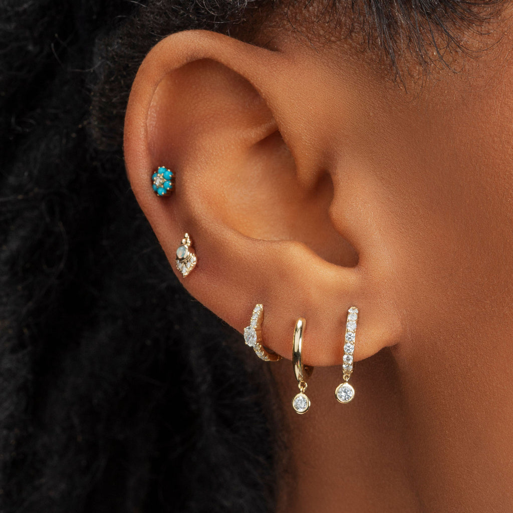 DIAMOND AND OPAL CLUSTER AND BEZEL STUD