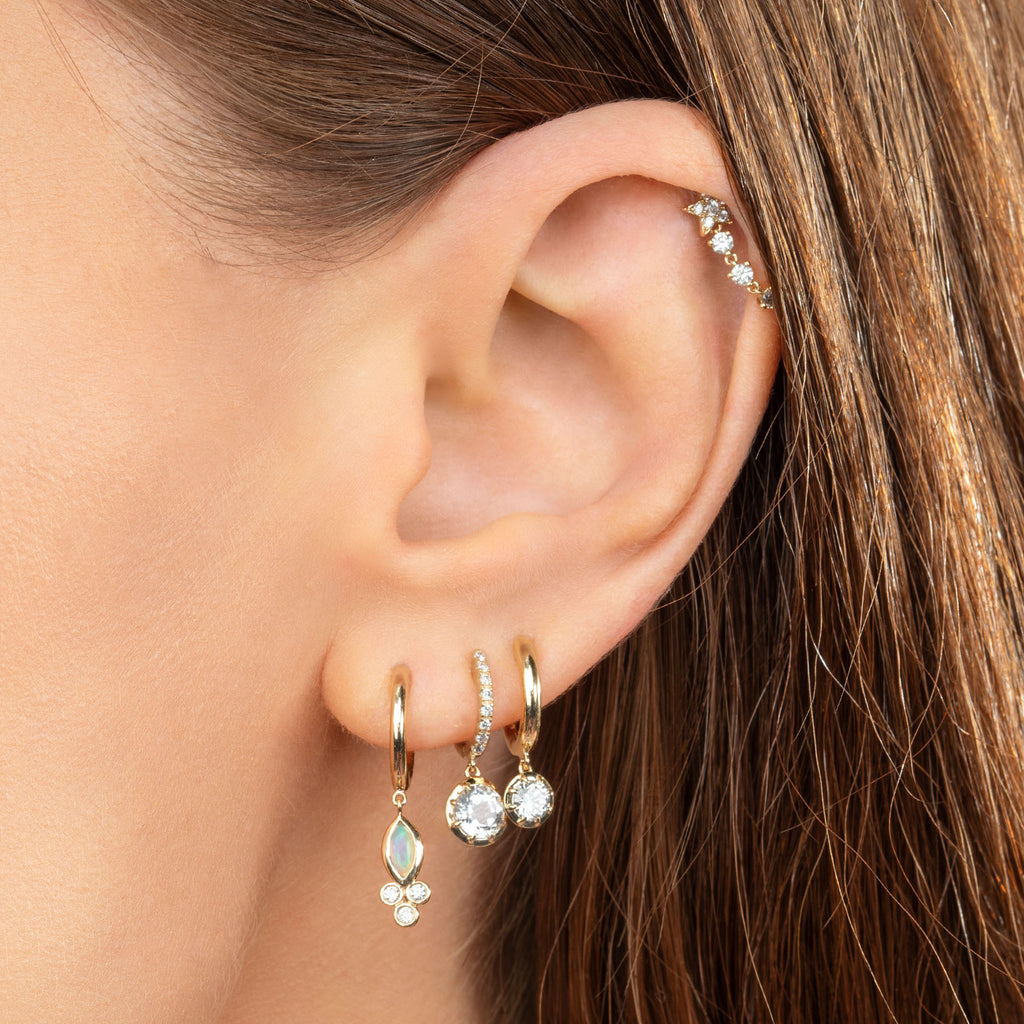 DIAMOND STAR CONNECTED TENNIS CHAIN EARRING