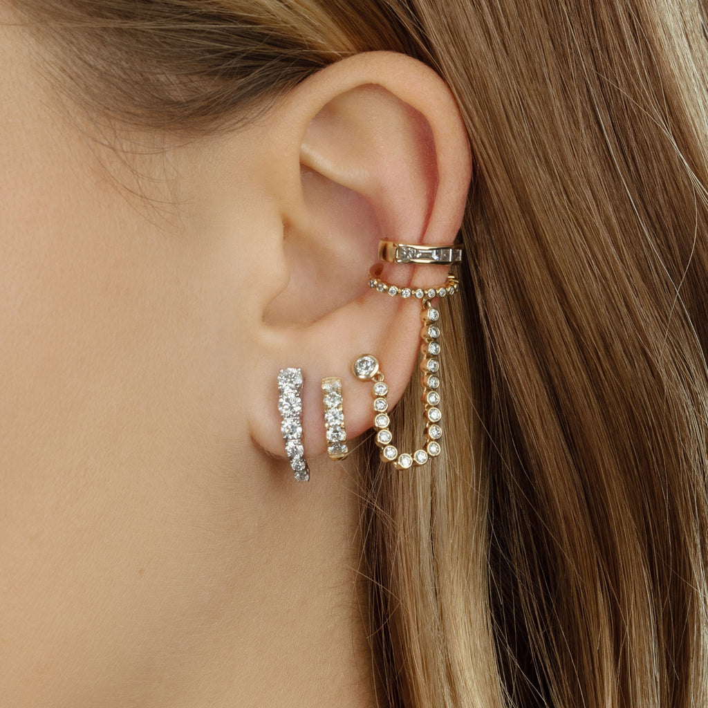 DIAMOND BEZEL CONNECTED STUD AND CUFF EARRING