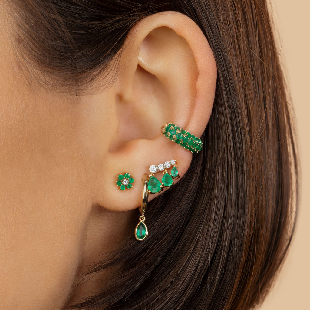 EMERALD TEARDROP SLIM HOOP EARRING
