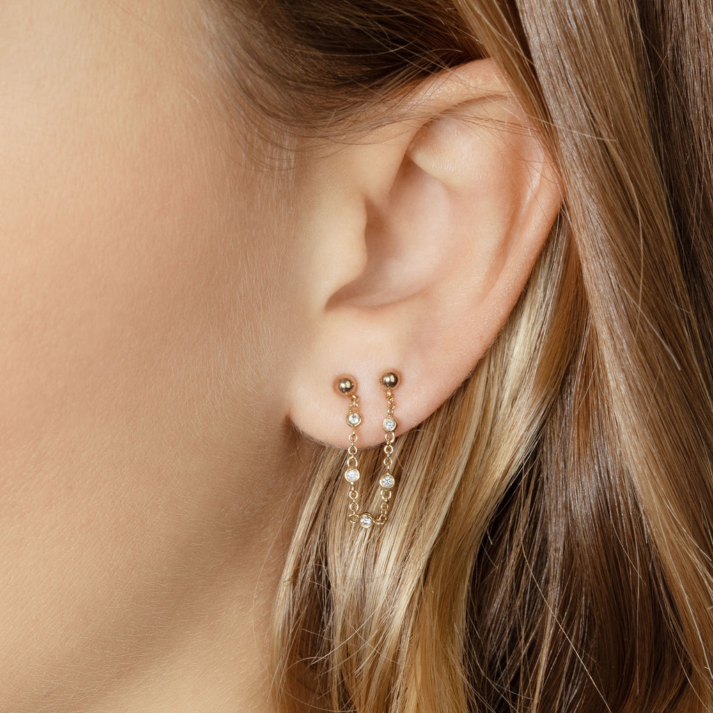 DIAMOND BEZEL CONNECTED STUDS EARRING