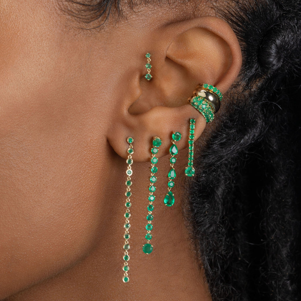 EMERALD BEZEL DROP EARRING