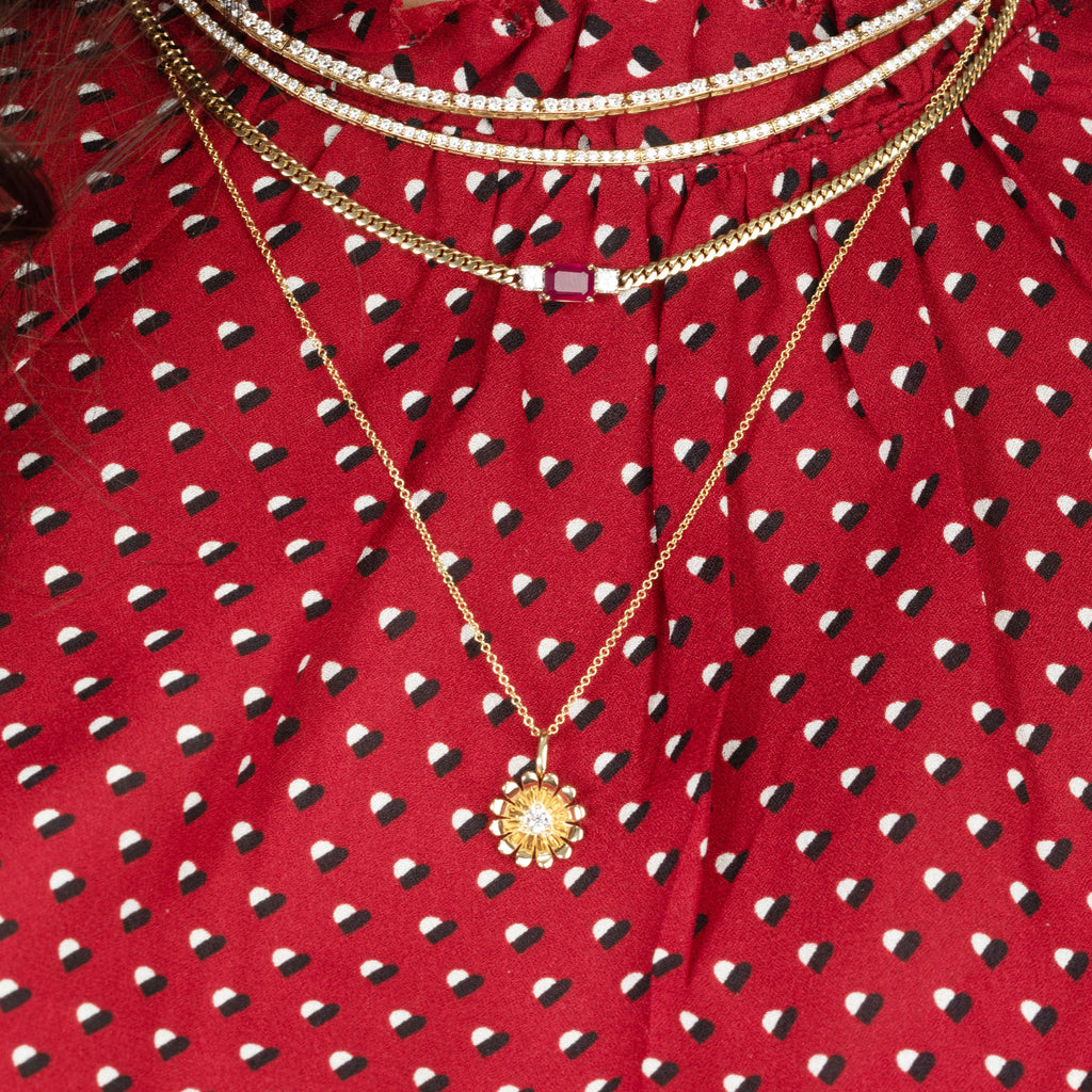 DIAMOND AND RUBY DARLING CURB LINK NECKLACE