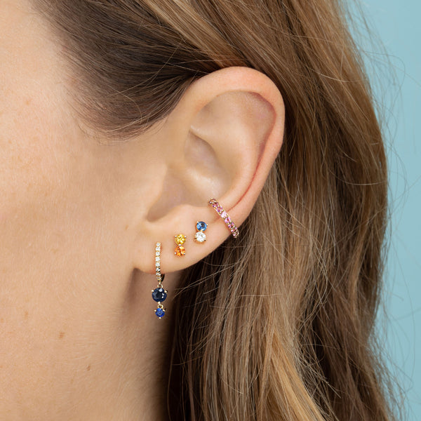 DIAMOND AND BLUE SAPPHIRE DOUBLE STUD