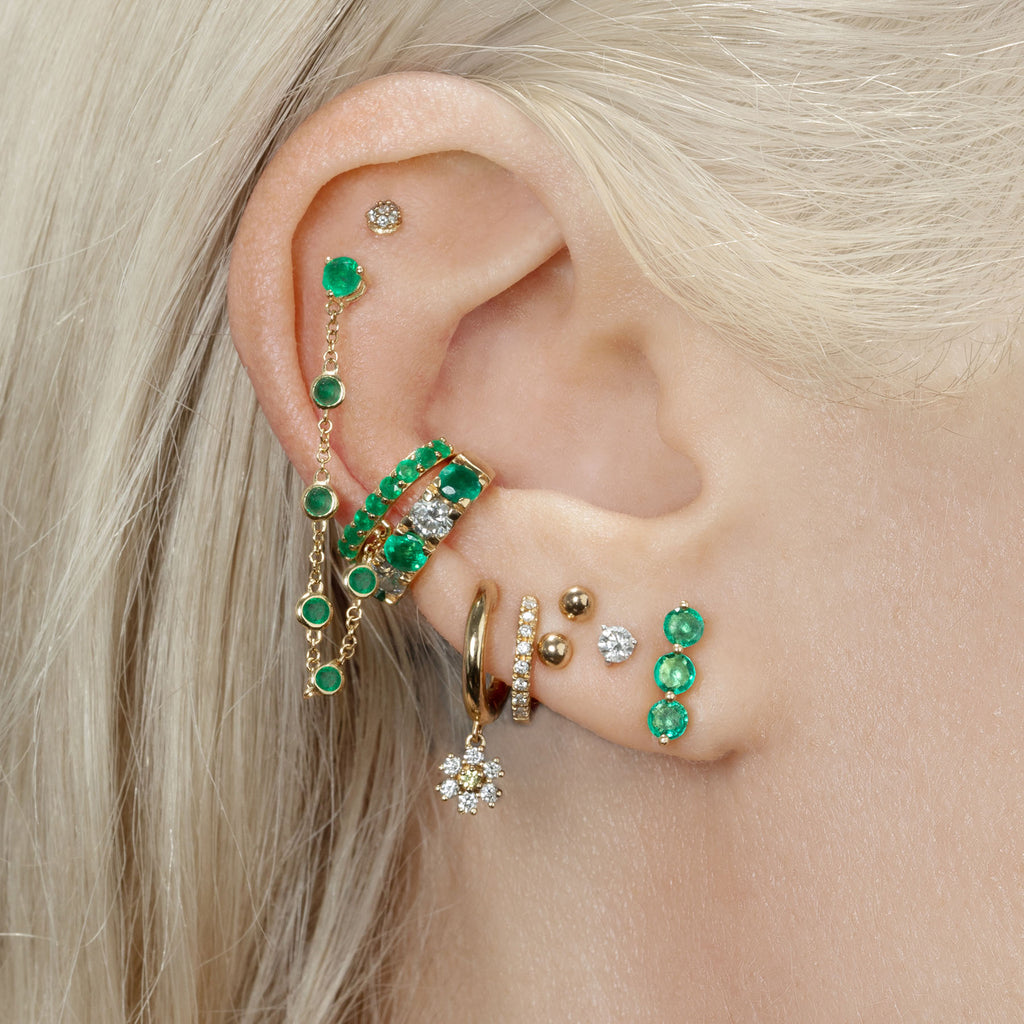 EMERALD TRIPLE STUD EARRING