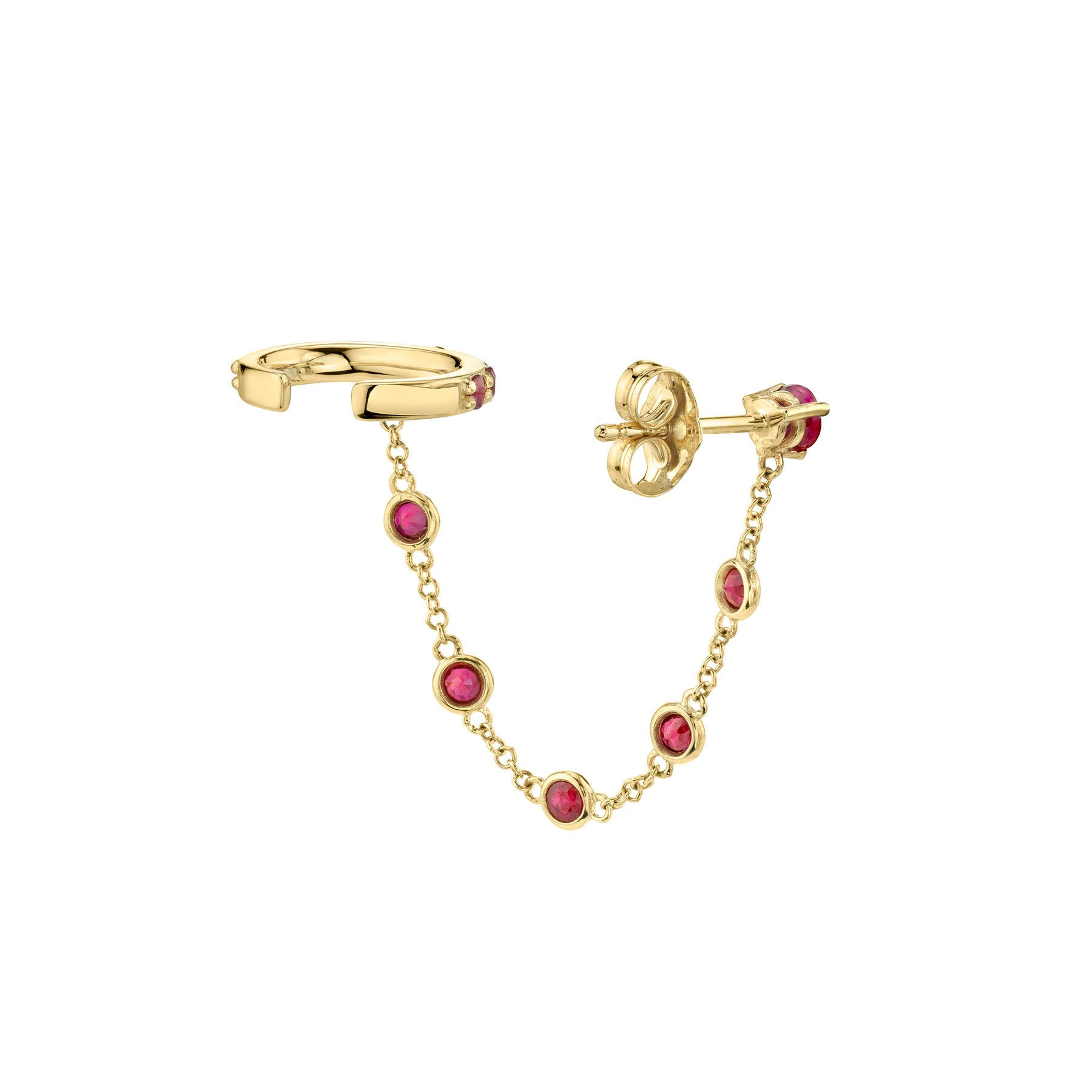 RUBY BEZEL CONNECTED CUFF EARRING