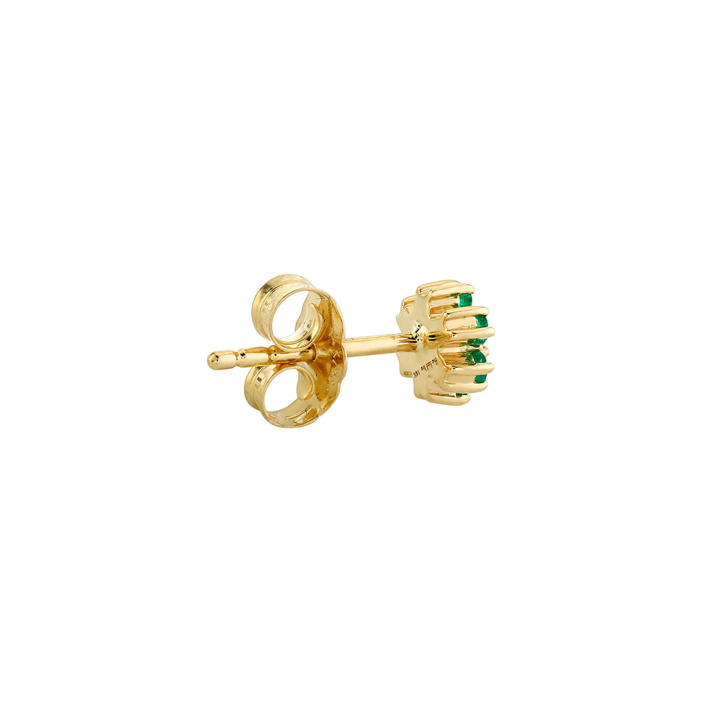 EMERALD AND DIAMOND MINI FLOWER STUD EARRING