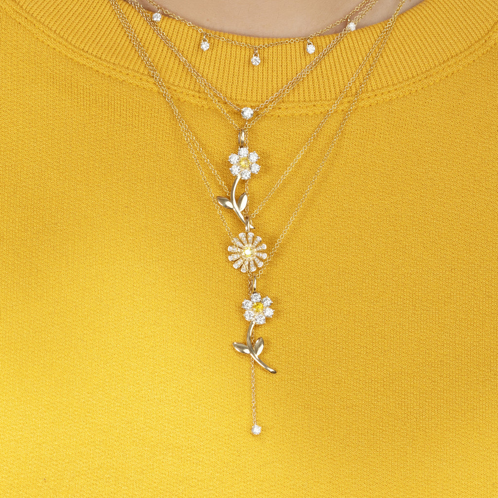 DIAMOND TEDDY FLOWER PENDANT