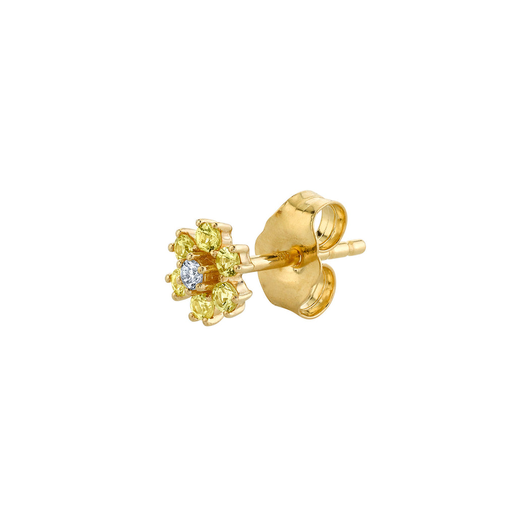 YELLOW SAPPHIRE AND DIAMOND MINI FLOWER STUD EARRING