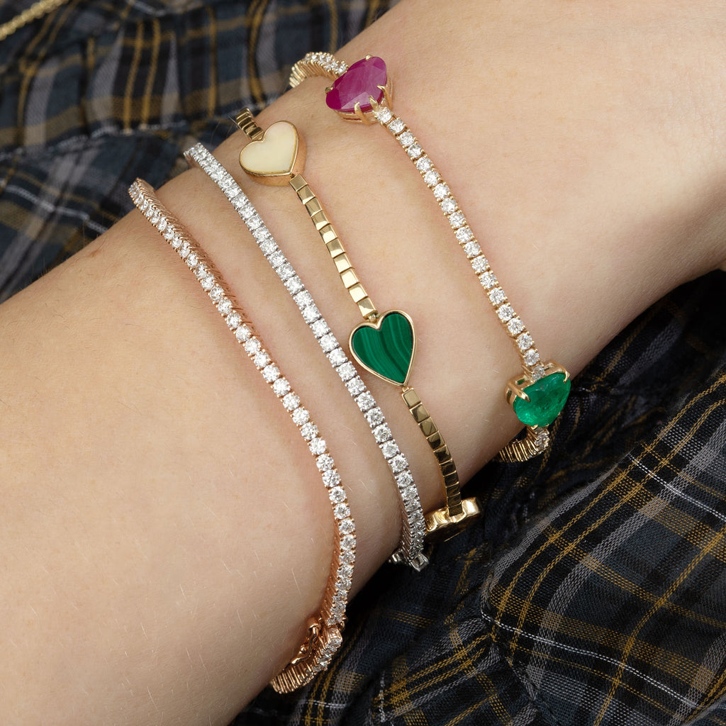 GOLD AND STONE HEART TENNIS BRACELET