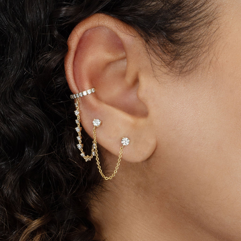 PERFECT DIAMOND EAR CUFF AND  CONNECTED TENNIS CHAIN