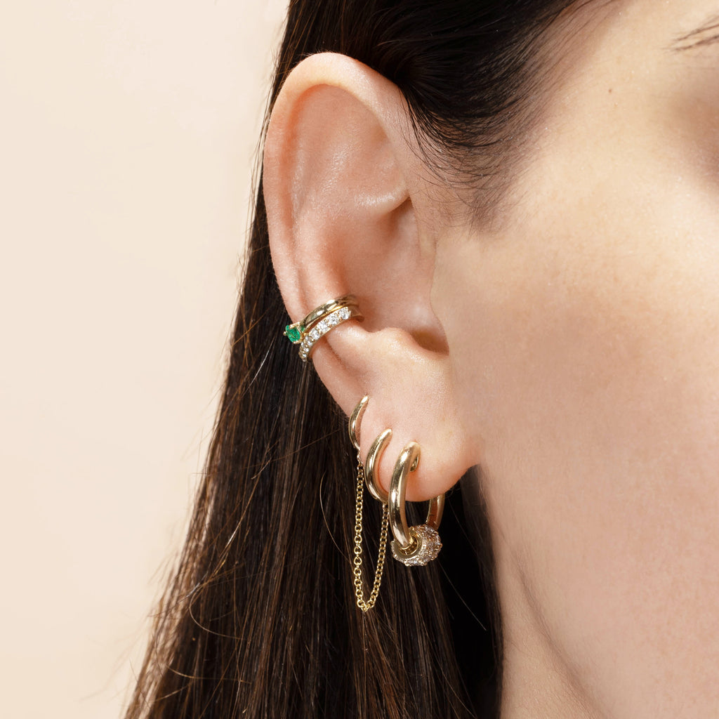 EMERALD SOLITAIRE EAR CUFF