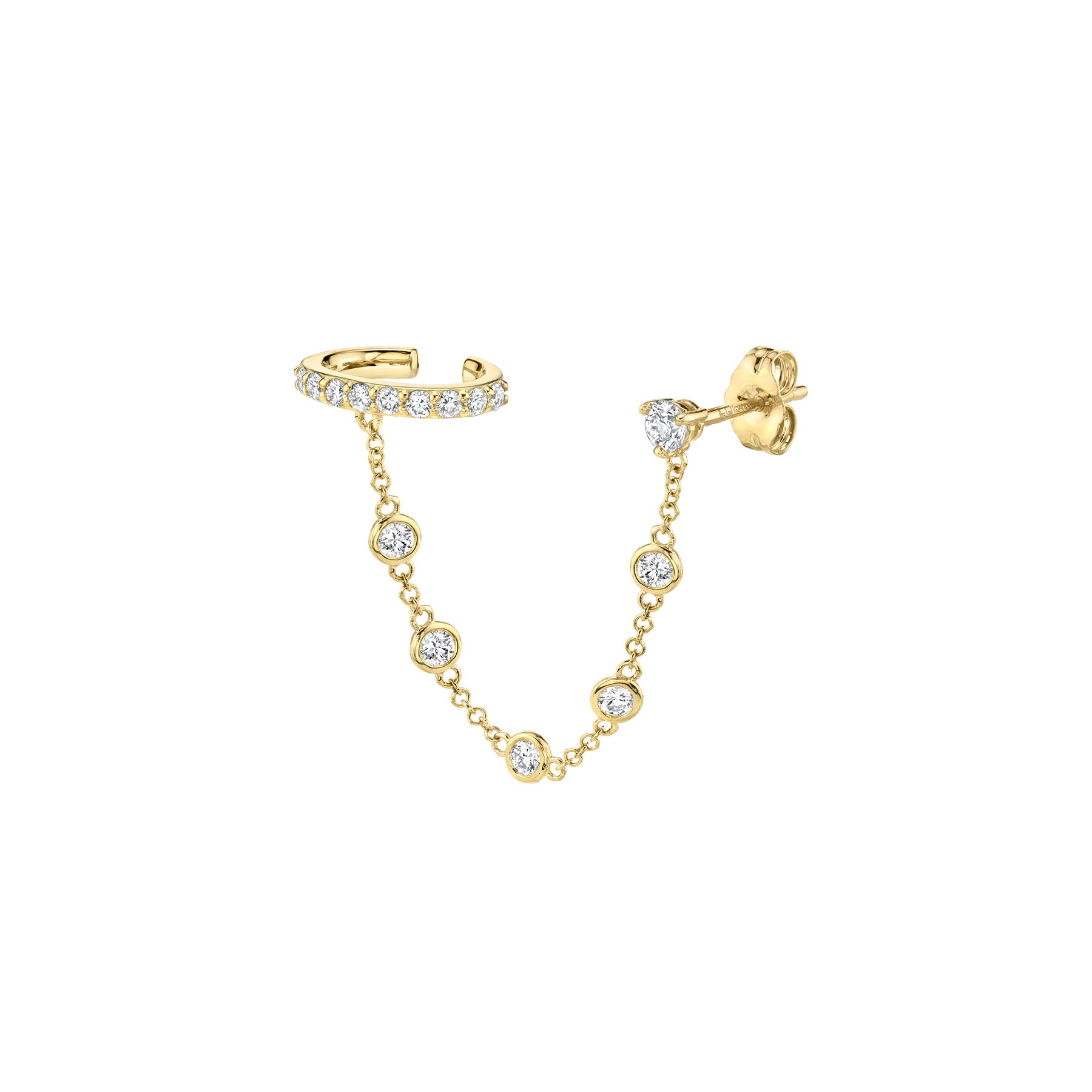 DIAMOND BEZEL CONNECTED CUFF EARRING
