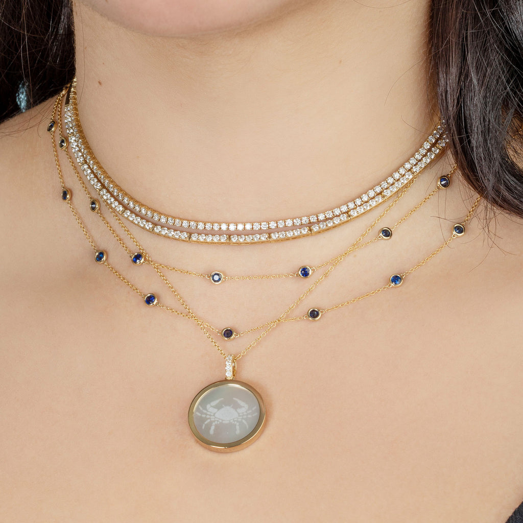 BLUE SAPPHIRE BEZEL LONG LAYERING NECKLACE