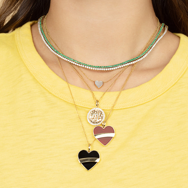 ONYX AND GOLD HEART PENDANT