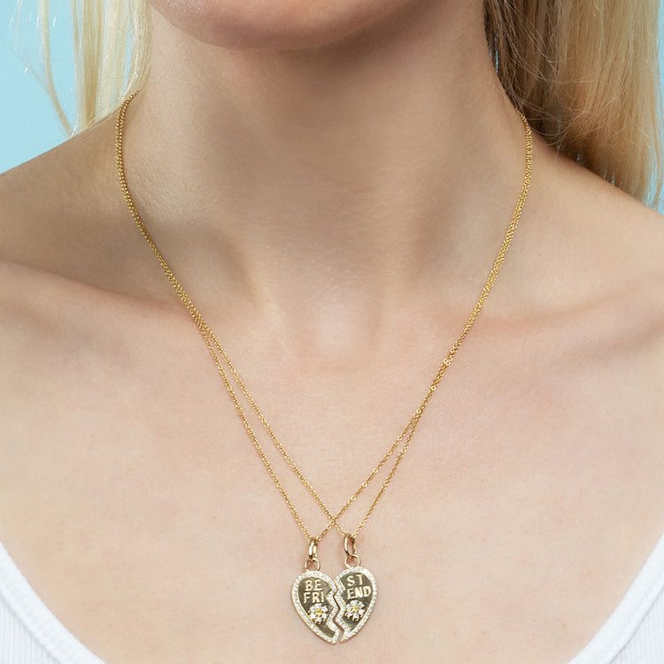 DIAMOND PAVE BFF HEART AND FLOWER PENDANT SET