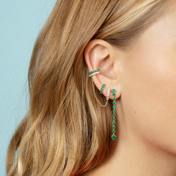 EMERALD DROP CHAIN EARRING