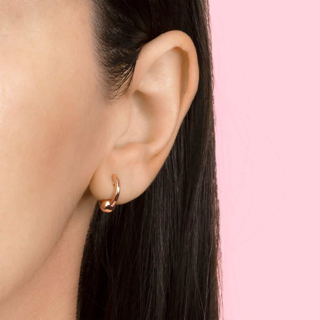 ROSE GOLD MINI SPHERE HOOP EARRING
