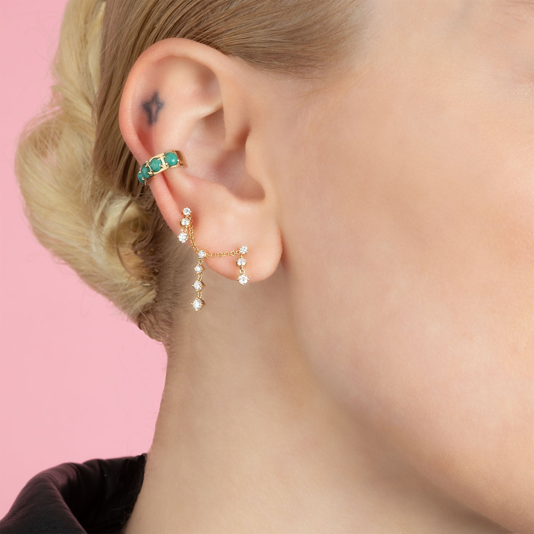 DIAMOND CONNECTED DROPLET EARRING