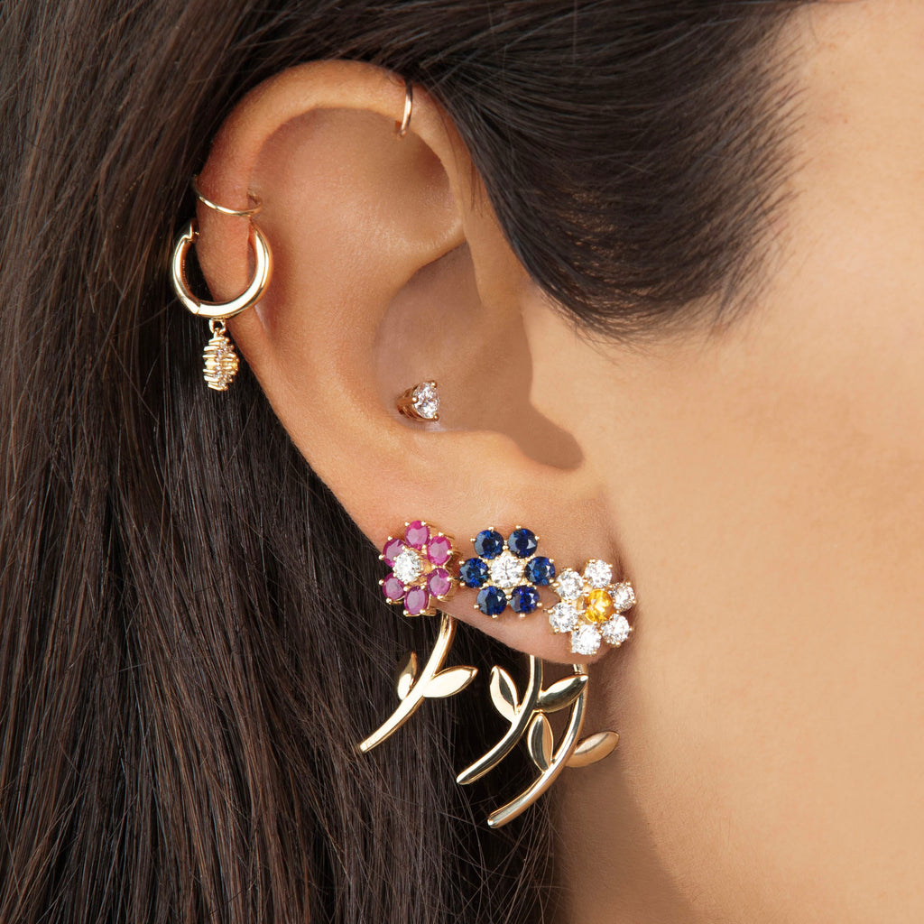 DIAMOND TEDDY FLOWER EARRING