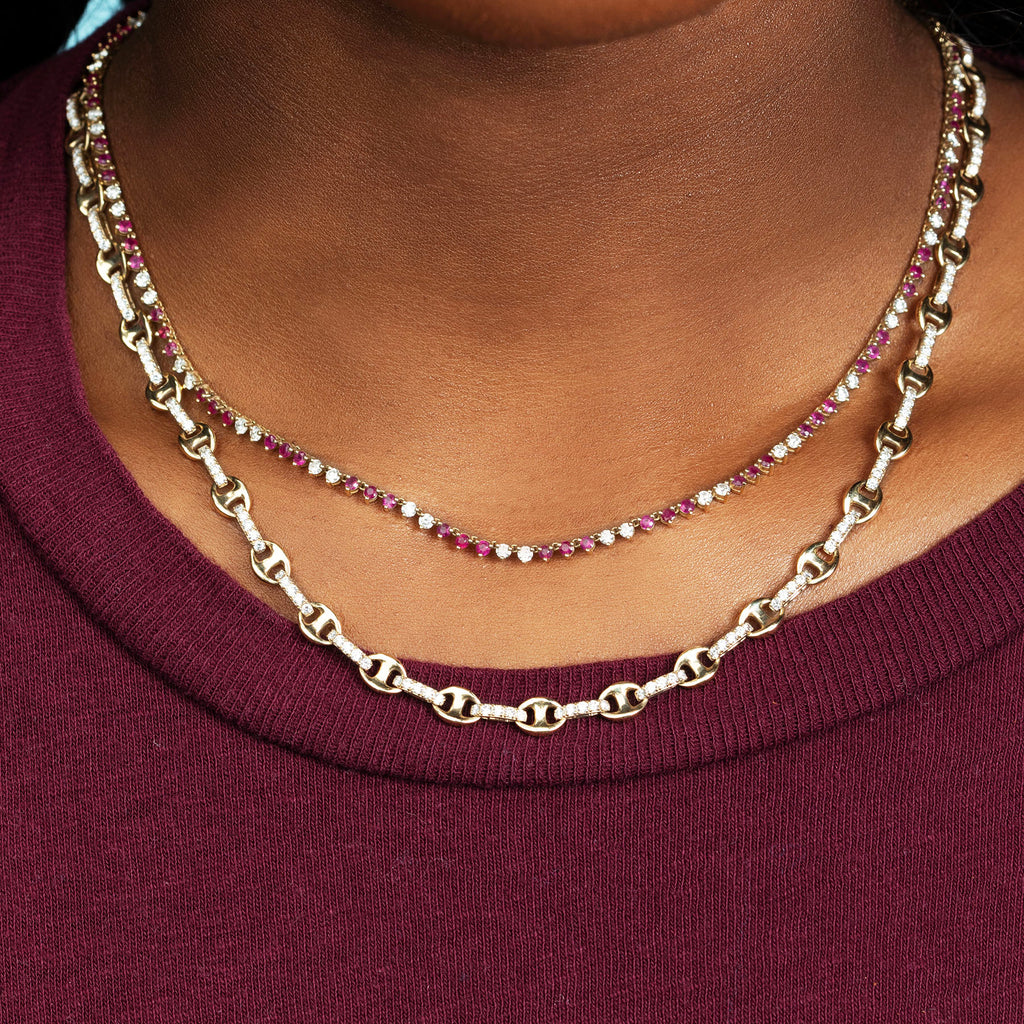 DIAMOND ANCHOR CHAIN NECKLACE