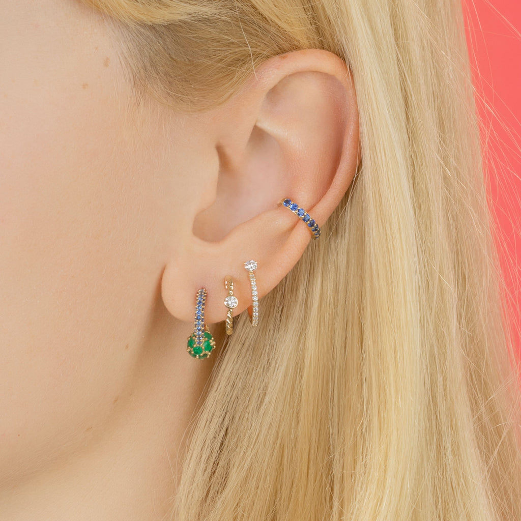 EMERALD AND BLUE SAPPHIRE PAVÉ SPHERE HOOP EARRING