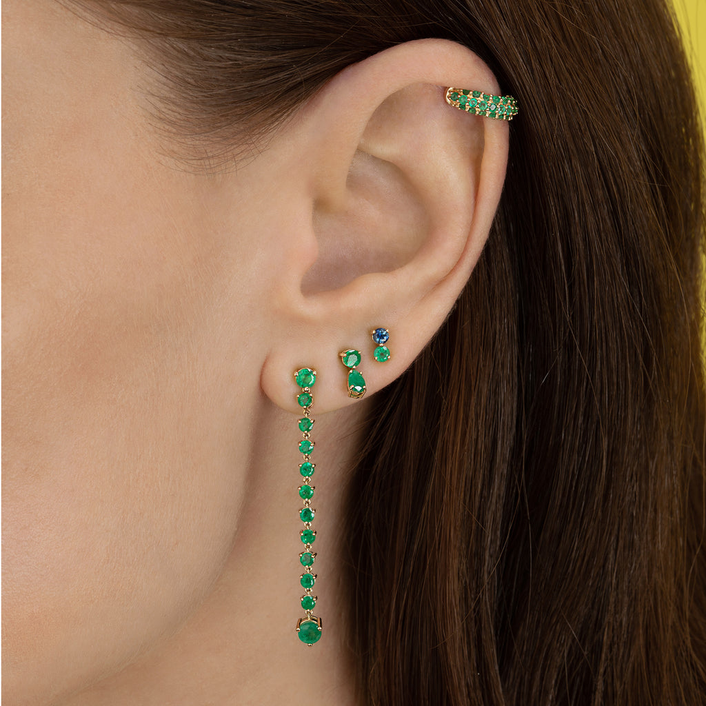 EMERALD AND BLUE SAPPHIRE DOUBLE STUD
