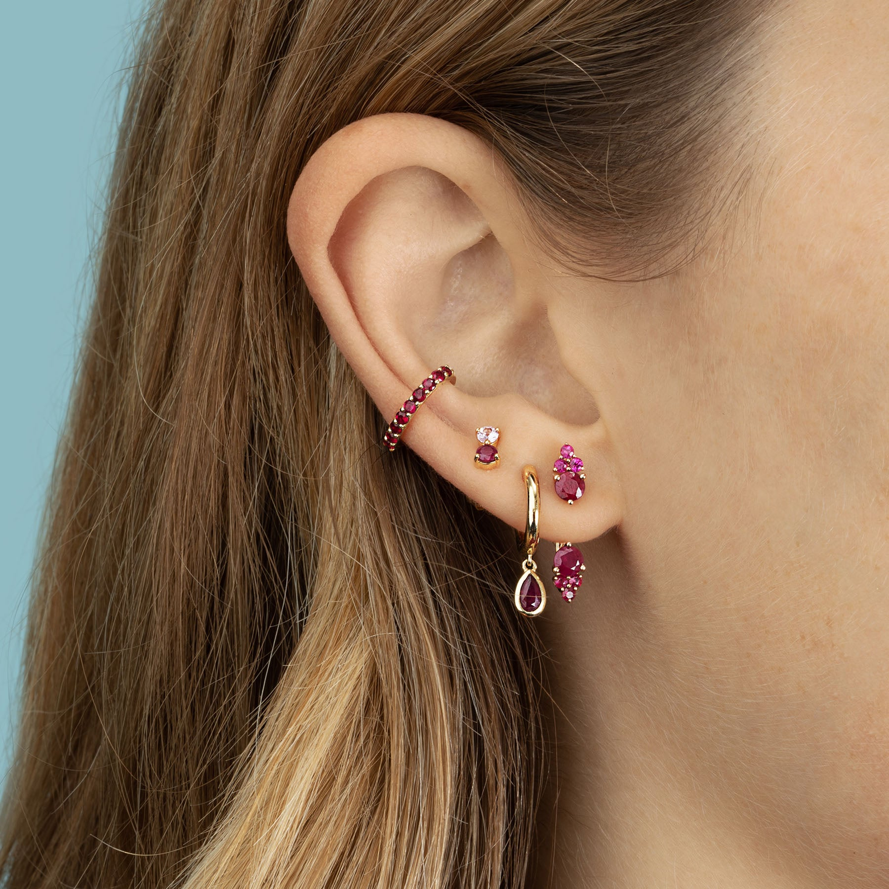 RUBY AND PINK SAPPHIRE DOUBLE STUD