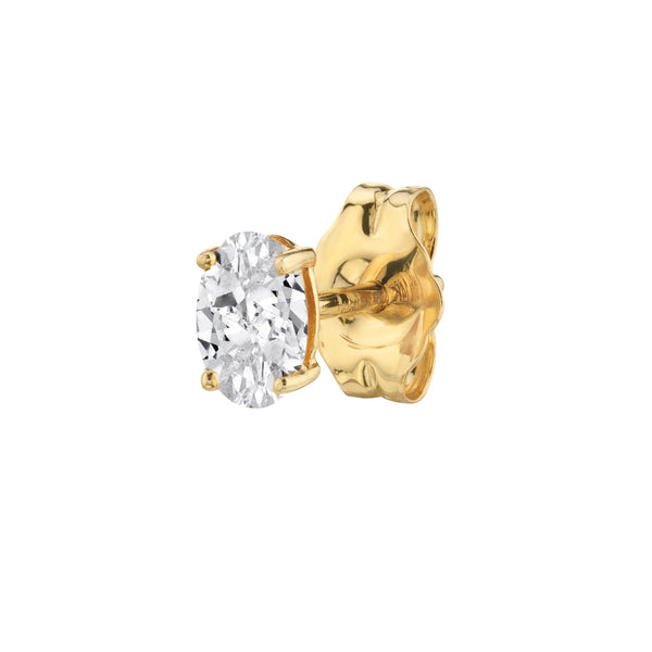 DIAMOND OVAL STUD EARRING