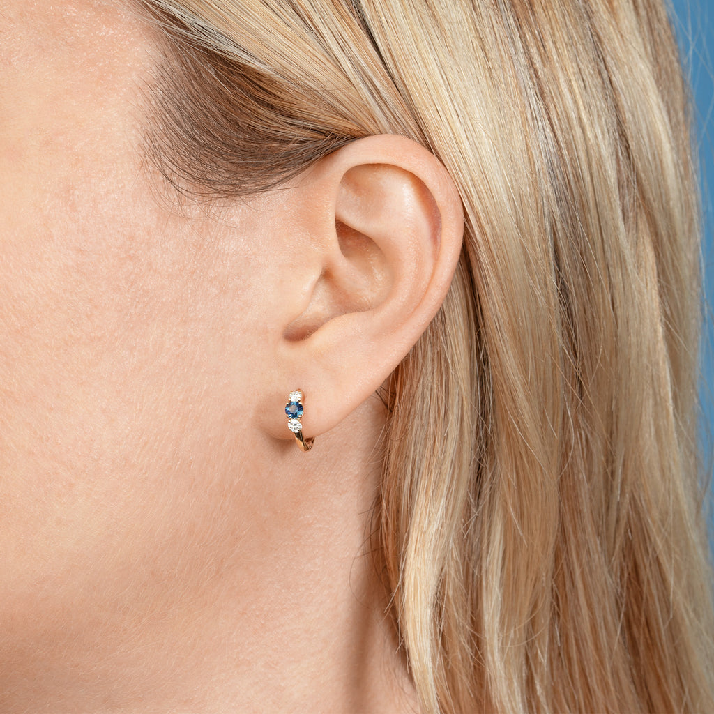 DIAMOND AND BLUE SAPPHIRE DARLING SLIM HOOP EARRING