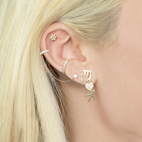 Diamond Heart and Zodiac Earring