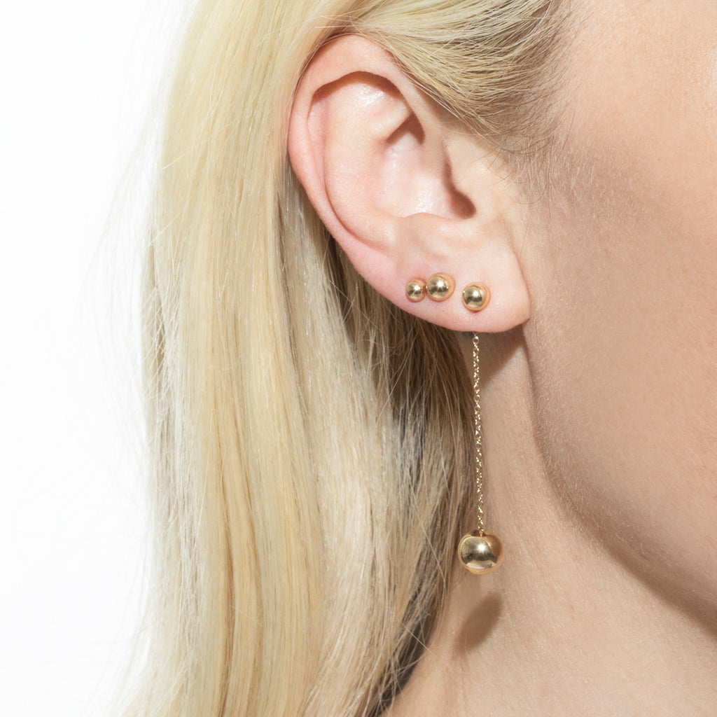 GOLD 5MM SPHERE STUD EARRING