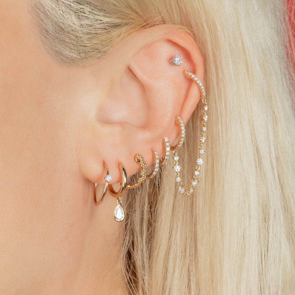 DIAMOND CONNECTED HUGGIES WITH TENNIS CHAIN EARRING